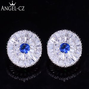 Wholesale ANGELCZ High Quality CZ Pave Setting White Gold Color Style Big Round Royal Blue Crystal Stud Earrings for Women Gift AE201
