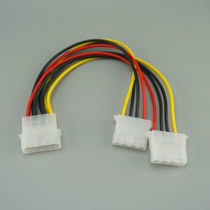 Wholesale 20cm Pin Molex Male to ports Molex IDE Female Power Supply Y Splitter Adapter Cable for PC cooling fan CD Driver Hard Disk
