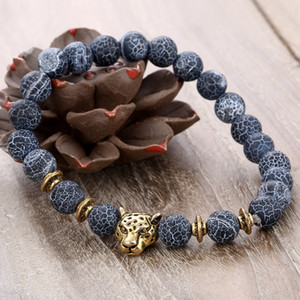 Wholesale 2 Style Trendy Leopard Beaded Bracelet Weathered Stone Bracelet For Women And Men Gray Beaded Jewelry Free DHL G811S