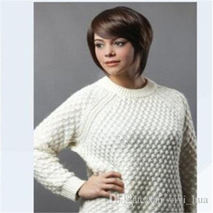 Short Blonde Wig Dark Roots For White Women And Synthetic High Heat Fiber Wig Natural Dark Brown Wig