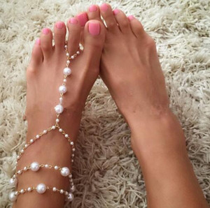 Wholesale Ladyfirt Chain Footless Bridal Foot Beach Wedding Simulated Pearl Barefoot Sandals Anklet Women Jewelry Female Anklets