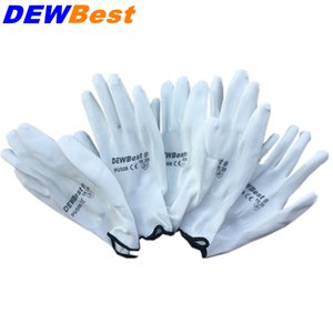 DEWBest New Arrival 12 Pairs Black Nylon PU Safety Work Gloves Builders Grip For Palm Coating and Coated Finger Gloves D18110705