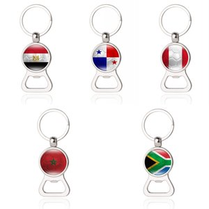 Wholesale 2018 World Cup Football Opener Beer Bottle Opener Flag Keychain Panama South Africa Egypt Flag Fans Memorial Gift Free DHL G543R