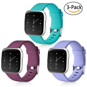 Sport Band for Fitbit Watch Soft Silicone Sport Strap Replacement Bands for Fitbit Versa (3 Pack)