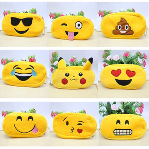 10 style Pen Bag Plush Cloth Creative Cartoon Expression Cute Emoji Pikachu Student Stationery Prize Pencil Box free shipping