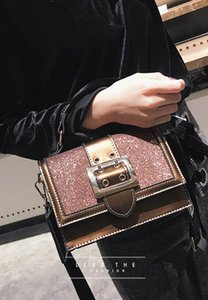 Herald Fashion Women Sequined Messenger Bag Quality Leather Women's Flap Bag Chain Strap Female Shoulder Bag Lay Crossbody Bags on Sale