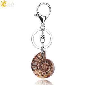 Wholesale ring door resale online - CSJA Motorcycle Car Door Keychains Boho Key Rings Key Holder Lobster for Men Women Natural Stone Ammonite Animal Fossil Shell Pendants F024