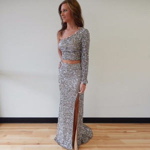Wholesale long full sequin dress resale online - Glamorous One Shoulder Full Sleeve Two Piece Long Sheath Prom Dresses Sexy High Slit Sequins Prom Party Dresses Evening Gowns Custom Made