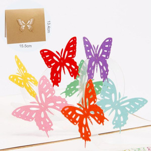 3D Pop Up Rainbow Bufferfly gift cards Origami Paper Laser Cut Greeting Cards Handmade Vintage Birthday Postcards DIY Thank You Cards