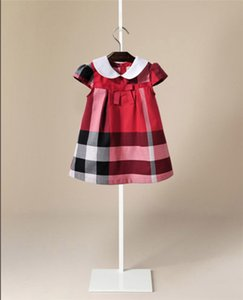 Wholesale 2019 kids clothes Korean plaid skirt short sleeve bow lapels girls dress