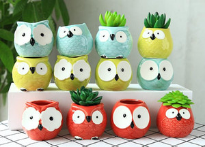 Wholesale Ceramic Flowerpot Cartoon Owl Shaped Vase Succulent Plants Table Vases Flower Pot Home Office Decoration Microlandschaft Decor