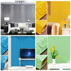Wholesale DIY Self Adhensive 3D Brick Wall Stickers Living Room Decor Foam Waterproof Covering Wallpaper For TV Background Kids Room 8 5as Z