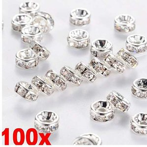 JETTING 100pcs Silver Gold Crystal Rhinestone Rondelle Spacer Beads DIY 6mm 8mm
