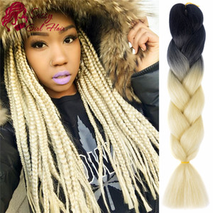 Wholesale kanekalon synthetic hair fiber resale online - 5Pcs Ombre Braiding Hair Extensions quot High Temperature Kanekalon Fiber Braiding Hair Synthetic Jumbo Braid Hair Croche Black Blonde