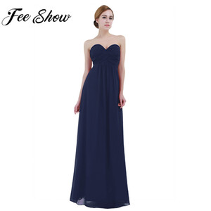 Wholesale Elegant Women Adult Strapless Chiffon Dress Long Tulle Bridesmaid Long Dresses Prom Gown Formal Princess Summer Dress