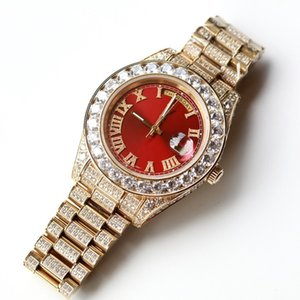 Wholesale Full Diamonds Gold Luxury Watches Men MM Big Stones Bezel L Day Sweep Automatic Date Watch High Quality Set Diamond Brand Wristwatch