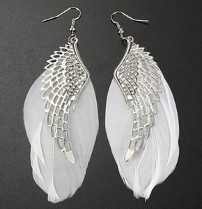 Wholesale DHL Feather Drop Earrings Lady Cute Fashion Jewelry Angel Wing Charm Light Silver Dangle Earrings for Women Christmas Gift