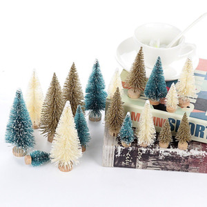 кедровые деревья оптовых-24pcs Mini Christmas Tree Fake Pine Tree Sisal Bottle Brush Snow Frost Small Cedar Artificial Christmas Home Decor