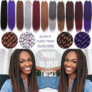 Y demand HIGH QUALITY 3D Cubic Twist Crochet Braids 18inch Brown Color Mambo Senegalese Twist synthetic hair Hair Extensions