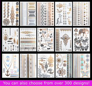 15pcs lot Temporary Waterproof Flash Tattoos Non-toxic Metallic Tattoo Hot Sale Women Tattoo Jewelry And Body Tattoo!