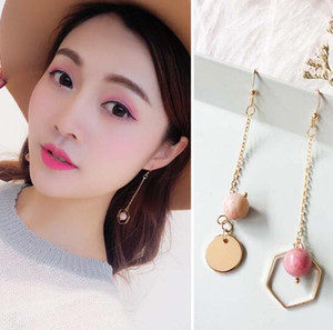 Lady long tassel diamond pink natural beads round earrings creative fashion simple temperament wild popular personality