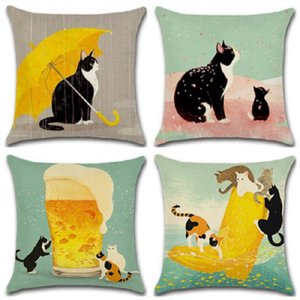 Wholesale New Pillow Cover Hot Cotton Naughty Cat Series Cushion Cover Cute Cat Yellow Umbrella Hug Pillowcase Home Decoration Pliiow Case