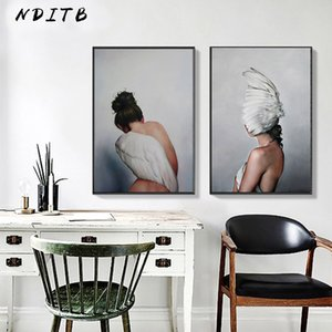 Wholesale Scandinavian Feather Lady Wall Art Canvas Print Abstract Poster Painting Nordic Decoration Picture Modern Living Room Decor