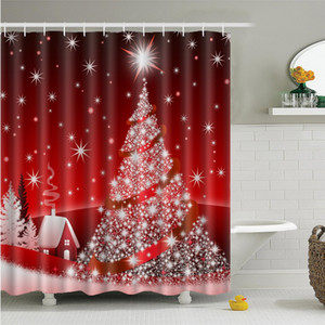 Merry Christmas Decor For Home Santa Claus Shower Curtain Sleepy Snowman Pattern Waterproof Bathroom Shower Bath Curtain