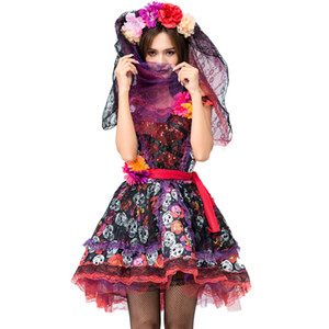 Skeleton Day of The Dead Costume Women's Sexy Sugar Skull Dia Flower Fairy Halloween ghost vampire bride Fancy Dress