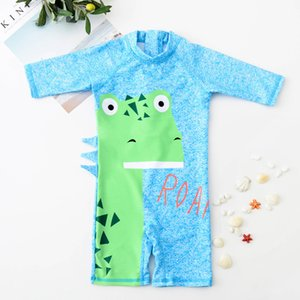 Wholesale Cartoon Green color Dinosaur Baby Boys Swimwear Set Surfing Kids one piece Trunks Swimming Children Bathing Suits boy Swim Clothing A9142