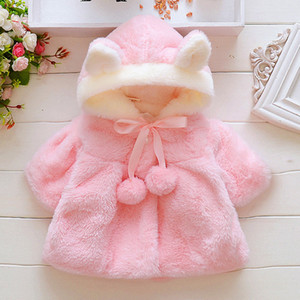 Wholesale Baby Clothing Infant Kids Fur Winter Warm Coat Jackets Thick Girls Clothes Baby Girl Cute Hooded Long Sleeve Coats Jacket Outwear Colors