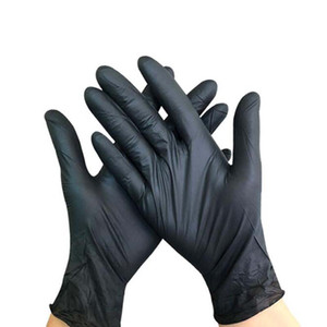 Wholesale black disposable nitrile gloves Non slip acid and alkali laboratory Portable Latex Elastic Non Toxic Reusable Security Gloves