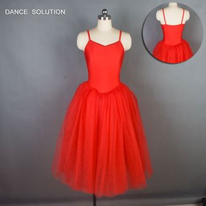 Wholesale Red Spandex Bodice Long Romantic Ballet Tutu GIrl Women Stage Costume Ballerina Tutu Adult Ballet Costumes