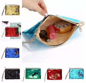 Wholesale 7 Colors DIY Mermaid Bling Sequin Evening Clutch Bag Reversible Sequins Coin Wallet Purse Makeup Storage Bags Shopping Totes A08