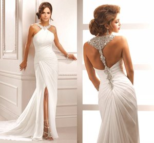 Wholesale New Sparkling Halter Crystal Beading Evening Dresses Slit Sleeveless Pleat Mermaid White Long Chiffon Formal Prom Party Gowns DH4114