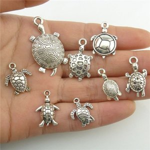 Wholesale GLOWCAT B8Q266 Mixed set Alloy Sea Animal Turtle Tortoise Silver Pendant Charms Jewelry Accessories