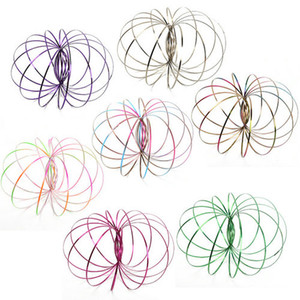 Metal Colorful Flow Ring Toy 6 Colors Holographic by While Moving Creates a Ring Flow Kinetic Toys