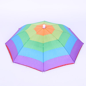 Portable Umbrella Hats Head Wear Elastic Band Outdoors Rainbow Watermelon Color Strip Fishing Camping Equipment Umbrellas 3 2mx bbWW