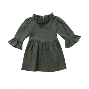 Wholesale Toddler Kid Baby Girls Dress Clothes Autumn Girl Clothing Three Quarter Solid Army Green Ruffle Sleeve Turtleneck Dress