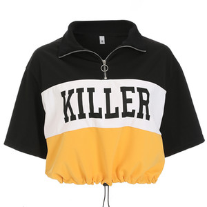 ingrosso stili di camicia per le donne-Coreano Harajuku T Shirt Donna Estate Casual Crop Top Tees Turn Down Colletto Mezza manica stampata Tshirt Stile Punk Top Donna