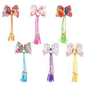 Baby girls 7 inch gilt unicorn colorful bow wig pigtail hairclips child hairpin frolal printed hair accessories H103