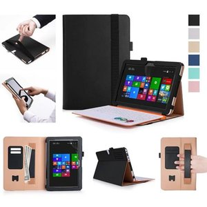 Wholesale Luxury Cowhide Magnetic Stand PU Leather Folio Cover Case Card Hand Strap For ASUS Transformer Mini T102HA Tablet pen