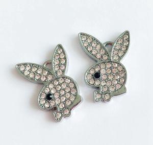 10PCS Lot Full Rhinestone Rabbit Head Hang Pendant Charms DIY Acessories Fit Phone Strips Wristbands Belt Pet Collar Tags