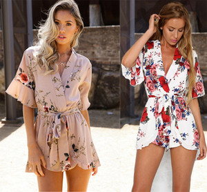 Wholesale Women Summer Floral Printed V Neck Jumpsuit Rompers Shorts Playsuits Boho Ruffles Playsuits Beach Wear LJJO4133