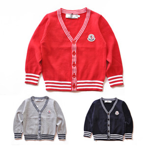 2019 Brand New Kids Sweater Autumn Children Polo Cardigan Coat Baby Boys Girls single-breasted jacket Sweaters outer wear 1412