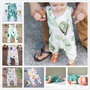 Wholesale Baby Rompers Cactus Forest Road Print Sleeveless Rompers Newborn Infant Baby Girls Boys Sleeveless Summer Clothes Jumpsuit Playsuits Y278
