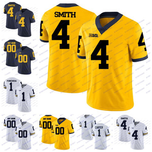 Wholesale Custom Michigan Wolverines College Football Anthony Carter Devin Funchess Braylon Edwards De Veon Smith White Blue Yellow Jerseys Stitch