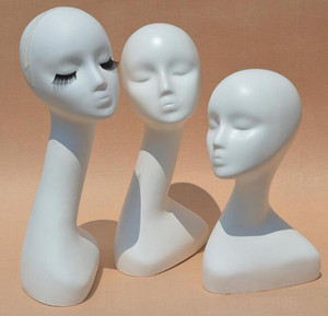 Wholesale Gloss White Female Mannequins Head Long Neck Model Head Hair Displayer For Wig Hat Scarf Without Makeup