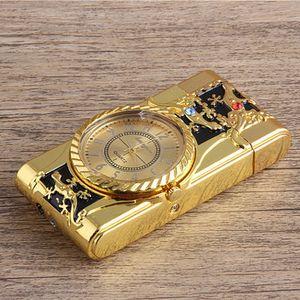 Multifunctional Cigarette Lighter Gold Quartz Watch windproof refillable butane gas cigarette lighter metal led lighting