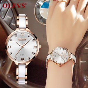 Wholesale OLEVS Top Brand Ladies Wristwatch Ceramic Strap Luxury Gold Dial Women Watches Clock Cubic Zirconia Thin Watchbands Woman WatchY1883104
